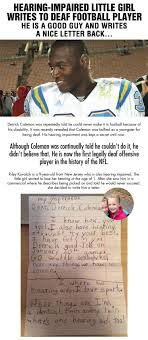 17 best ideas about hearing impaired deaf culture hearing impaired little girl writes to nfl player derrick coleman this is his response
