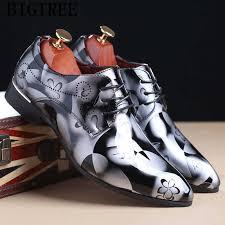 Classic <b>Mens</b> Dress Shoes <b>Luxury Brand</b> Patent Leather Print ...