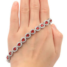 10x8mm <b>Gorgeous</b> Red <b>Blood Ruby</b> White CZ Gift For Girls Silver ...