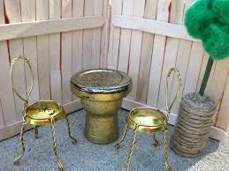 fabulous diy backyard dollhouse furniture with gold color iron chairs and white bottle cap coffee table bottle cap furniture