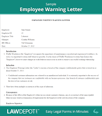 employee warning letter employee warning form us lawdepot employee warning letter sample