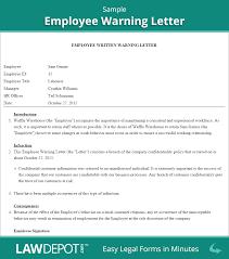 employee warning letter employee warning form us lawdepot employee warning letter sample