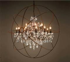 Foucault's Orb <b>Clear K9</b> Crystal Chandelier Rustic Iron <b>Globe</b> ...