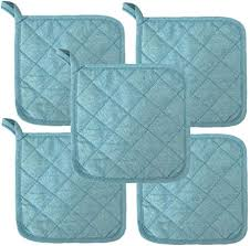 """<b>Sky Blue Heat</b> Resistant Pot Holders 6.5"""" Square Solid <b>Color</b> (Pack"""