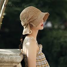 <b>MAERSHEI</b> Bowknot Straw Hats <b>Women Summer</b> Beach Elegant ...