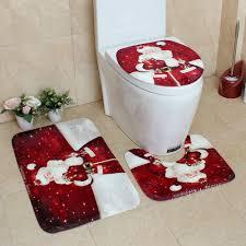 3Pcs <b>Cartoon Christmas Snowman Pattern</b> Soft Anti Silp Bath Mat ...