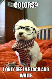 Colors? I only see in black and white - Hipster Dog - quickmeme via Relatably.com