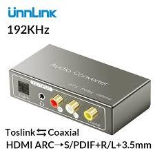 <b>Unnlink HDMI ARC to</b> 5.1 SPDIF Toslink Coaxial RCA 3.5mm Jack ...