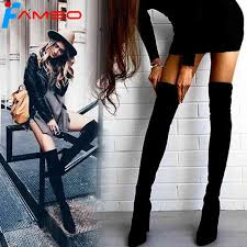 <b>FAMSO</b> Size 34 43 2018 <b>New Shoes Women Boots</b> Black Over the ...