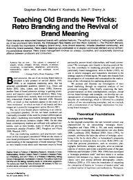 (PDF) Teaching Old <b>Brands</b> New Tricks: <b>Retro</b> Branding <b>and</b> the ...