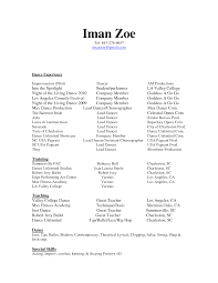 sample resume for dancers cipanewsletter dance resume examples getessay biz