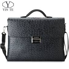 <b>YINTE Leather Men'S</b> Briefcase Black Bag Fashion Business ...