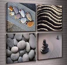 Zen Stone Wall Art 4 Panels Burning Candles SPA ... - Amazon.com