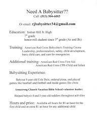 resume resume babysitter resume babysitter printable full size