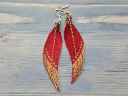Red Leather Earrings. <b>Red Feather</b> Earrings. Leather Feather
