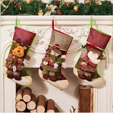 funnybunny christmas stockings with santa reindeer snowman classic linen socks for decorations gift treat bags