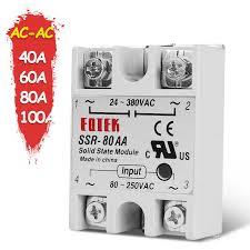 <b>Single Phase SSR</b> Solid State Module Relay AC AC 40A 60A 80A ...