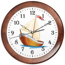 Часы круглые из дерева <b>Кораблик</b> плывущий по волнам. #2585466