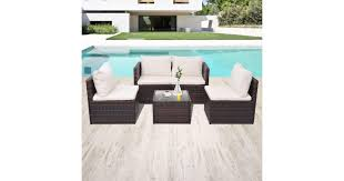 5 Piece Garden Lounge Set with Cushions Poly Rattan ... - Dick Smith