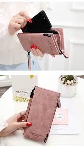 MINOFIOUS <b>Women PU Leather</b> Zipper Hasp Wallet <b>Solid</b> Letter ...
