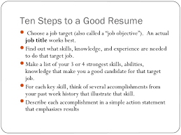 Resume writing ppt presentation    Ten Steps to a Good Resume
