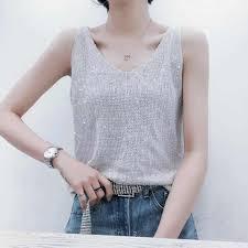 Women tank top <b>2019 summer</b> new street wear thin <b>ice silk</b> knitted ...