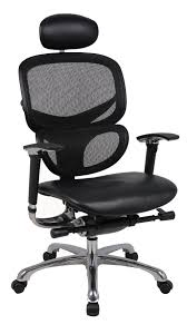 wave ergonomic mesh office chair with leather seat and leather headrest loaded with adjustable features brilliant furniture office chair