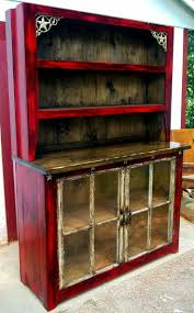 rustic hutch dining room: refinished cabinet love the dark and red wood together rustic and western