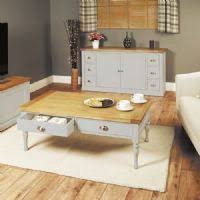 baumhaus chadwick four drawer coffee table grey painted with oak top chadwick satin lacquered oak hidden home