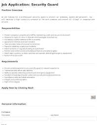 job application security guard template job application security guard