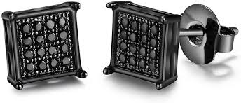 Mens Square Earrings Black Stud Diamond Crystal ... - Amazon.com