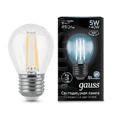 105802205 <b>Gauss LED Filament</b> Globe E27 5W 4100K 1/10/50 ...