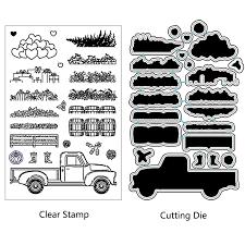 <b>ZhuoAng</b> Garden Stuff Truck Cutting Dies Clear Stamps For DIY ...