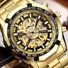 winner top brand luxury men watch golden bridge design roman number genuine leather strap royal male auto mechanical wristwatch