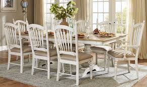 Distressed White Kitchen Table Hollyhock Distressed White Dining Room Set From Homelegance 5123