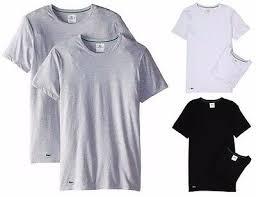 Shirts LACOSTE NEW <b>Mens Crew</b> Neck <b>2 Pack</b> Tshirts Grey BNWT ...