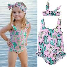 <b>Summer</b> Kids Girl <b>Swimsuit Hot Summer</b> Cactus <b>Printed</b> One Piece ...