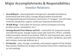 matt balfour major accomplishments responsibilities and ir program ex   3 major accomplishments