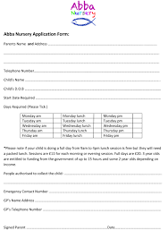 job application form nursery job application letter job application form nursery