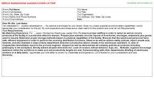 Warehouse Leader Cover Letter Sample Career Cover Letter