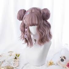 Kawaii <b>Beautiful</b> Short <b>Curly women</b> Hair Blue unique Wig Synthetic ...