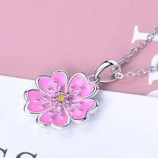 2019 <b>Strollgirl 100</b>% <b>925 Sterling</b> Silver Pink Enamel Plant Pendant ...