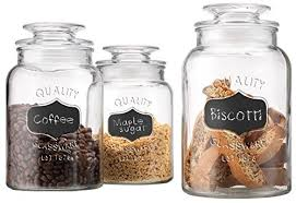 sets kitchen counter jars canisters set of  round clear apothecary glass canister jars with chalkboard wit