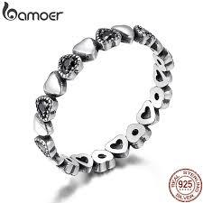 BAMOER <b>Genuine 925 Sterling</b> Silver Stackable Ring Heart Black ...