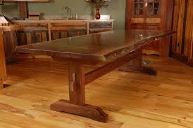 real rustic kitchen table long: live edge walnut slab trestle dining table
