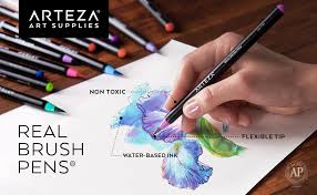 Arteza Real Brush Pens, <b>24 Colors</b> for <b>Watercolor Painting</b>