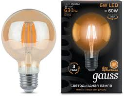 <b>Лампа Gauss LED Filament</b> G95 E27 6W Amber 550lm 2400K ...