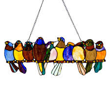 River of Goods Multi <b>Stained Glass Birds</b> on a Wire Window Panel ...