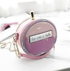 <b>Round Letter</b> Perfume Bottle Pu Leather Casual <b>Handbag</b> Chain ...