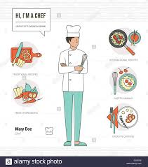 professional chef infographic resume and skill and thin line professional chef infographic resume and skill and thin line female character